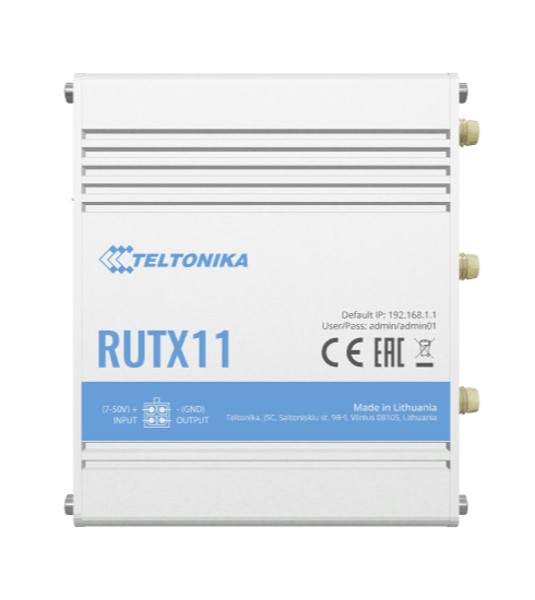 Teltonika RUTX11 Next Generation Industrial LTE WIFI Router, 2x SIM, Quad Core CPU, 256 MB RAM, 9-50V