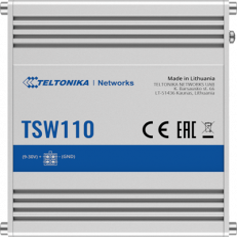 Teltonika TSW110 L2 Industrial Ethernet Switch, unmanaged, 5x Gigabit Ethernet, DIN rail option